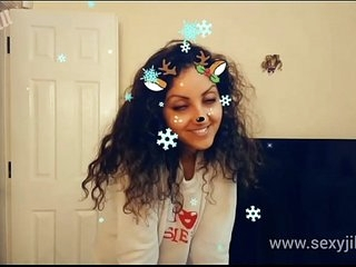 Christmas Snapchat teen gives pulse deepthroat blowjob relating to mammoth cumshot go for tiktok hot shots POV Indian